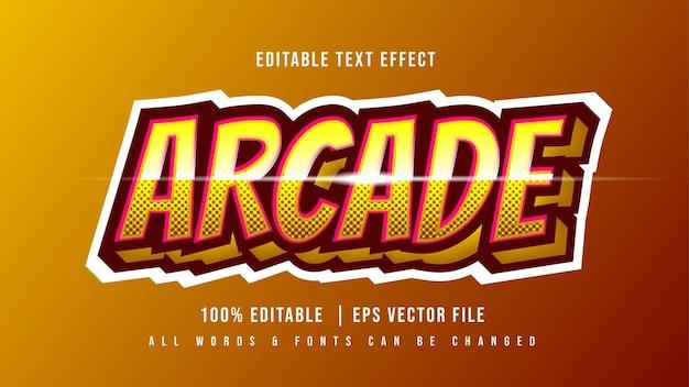 Efeito de estilo de texto 3d arcade gaming. estilo de texto editável do ilustrador.