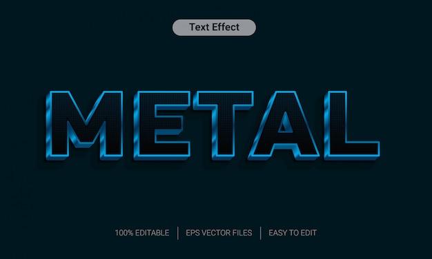 Efeito de estilo de texto 3d azul preto metal cromado