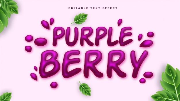 Efeito de estilo de texto 3d berry