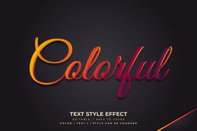 Efeito de estilo de texto 3d com gradiente colorido