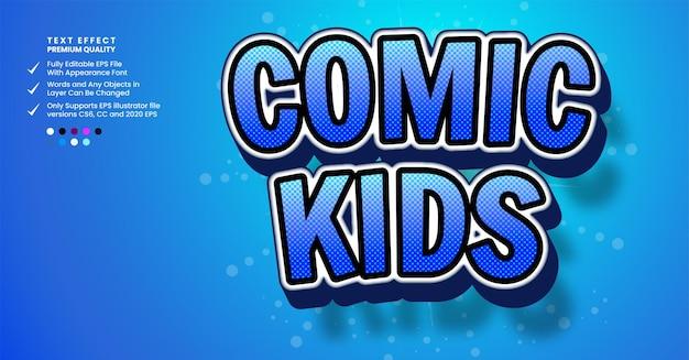Efeito de estilo de texto 3d de crianças em quadrinhos efeito de estilo de texto 3d de dança
