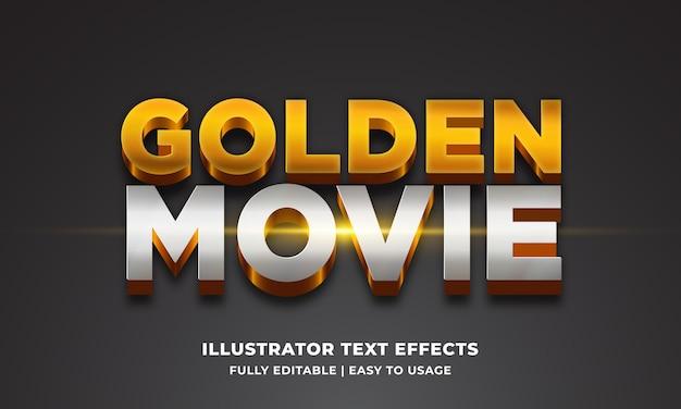 Efeito de estilo de texto 3d de filme dourado