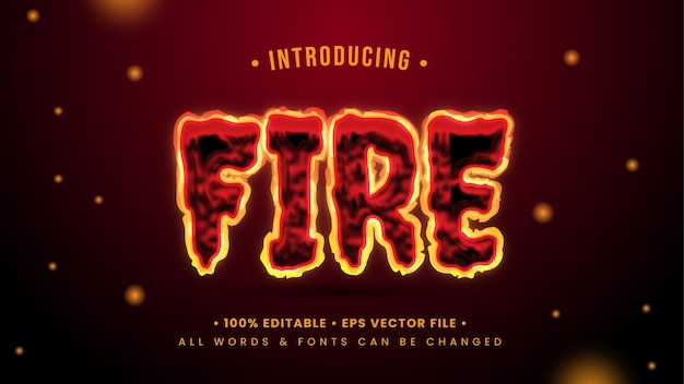 Efeito de estilo de texto 3d de fogo ardente. estilo de texto editável do ilustrador.