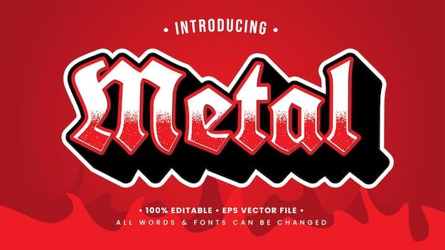 Efeito de estilo de texto 3d de metal musical vermelho. estilo de texto editável do ilustrador.