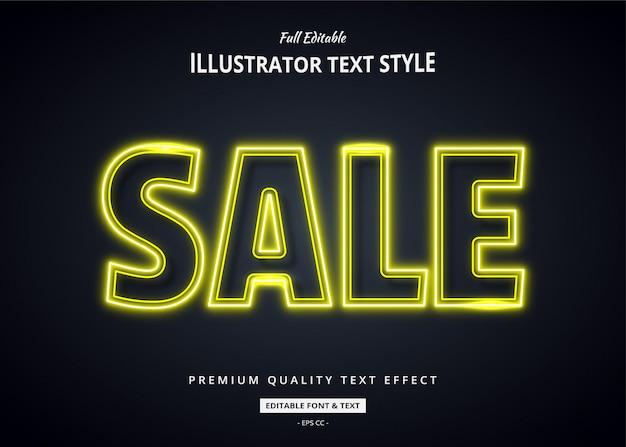 Efeito de estilo de texto 3d de néon amarelo
