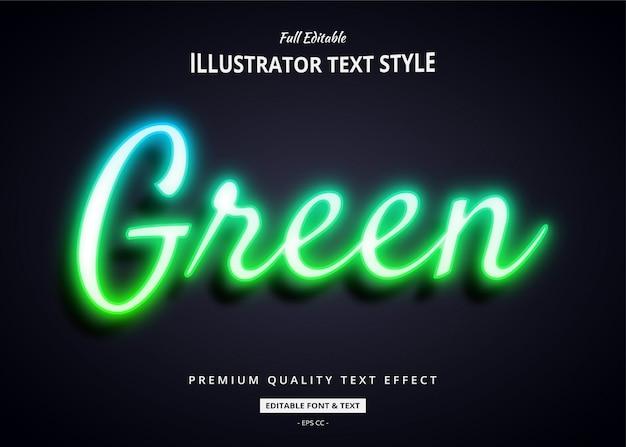 Efeito de estilo de texto 3d de néon verde