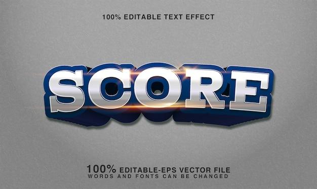 Efeito de estilo de texto 3d de pontuação esportiva