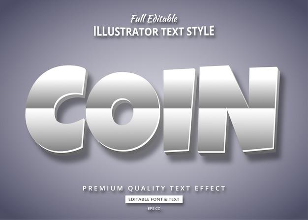 Efeito de estilo de texto 3d de prata dos desenhos animados