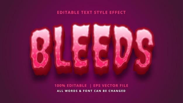 Efeito de estilo de texto 3d de sangramento de halloween. estilo de texto editável do ilustrador.