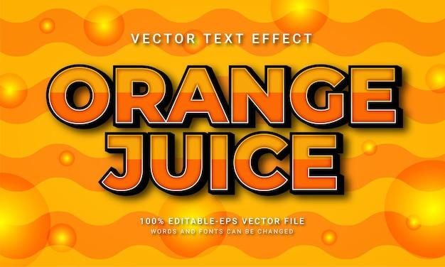 Efeito de estilo de texto 3d de suco de laranja com tema frutas frescas tropicais