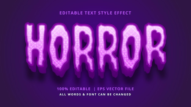 Efeito de estilo de texto 3d de terror halloween estilo de texto ilustrador editável