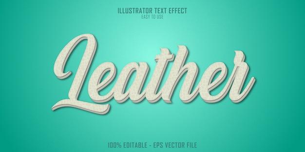 Efeito de estilo de texto 3d de textura de couro
