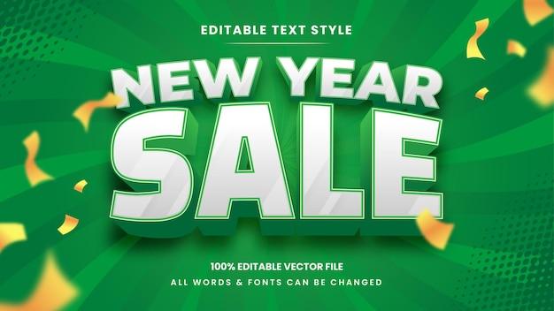 Efeito de estilo de texto 3d de venda de ano novo. estilo de texto editável do ilustrador.