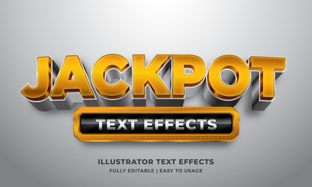 Efeito de estilo de texto 3d do jackpot