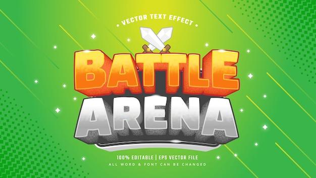 Efeito de estilo de texto 3d do videogame battle arena. estilo de texto editável do ilustrador.