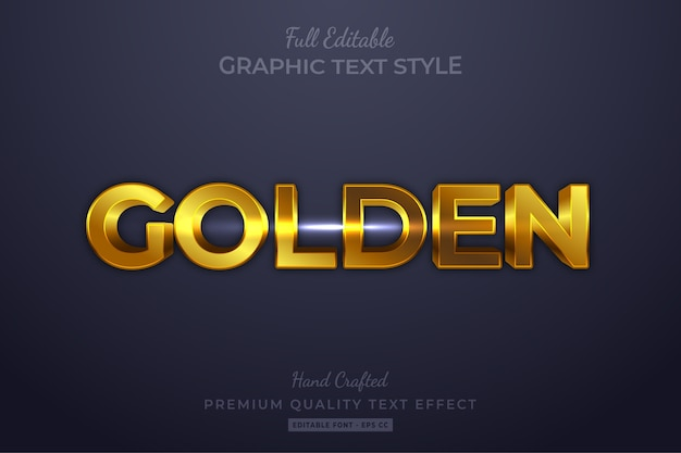 Efeito de estilo de texto 3d dourado editável