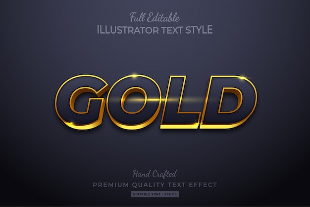 Efeito de estilo de texto 3d editável elegante em ouro premium