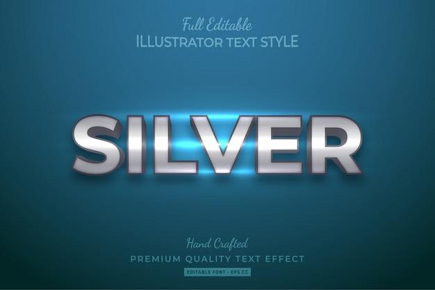 Efeito de estilo de texto 3d editável em prata premium