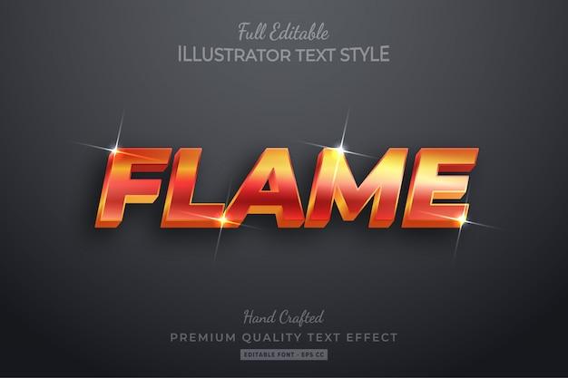 Efeito de estilo de texto 3d editável flame