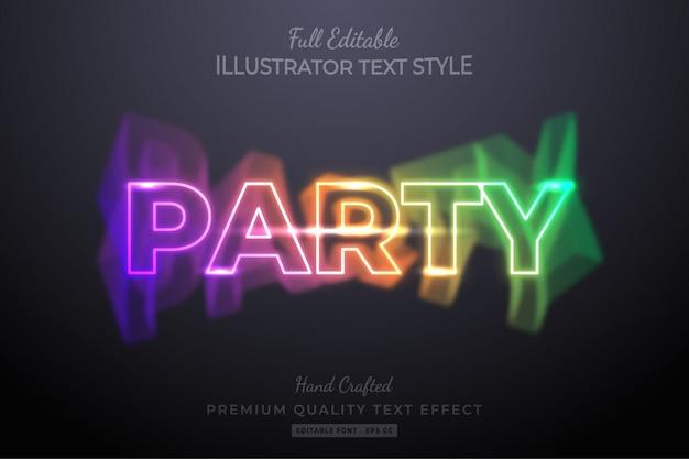 Efeito de estilo de texto 3d editável neon party