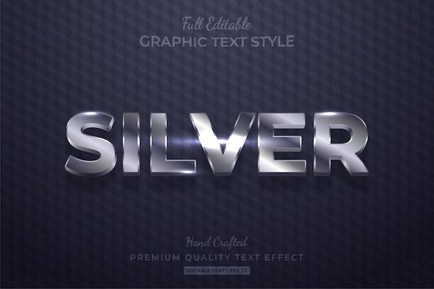 Efeito de estilo de texto 3d editável prata brilhante premium