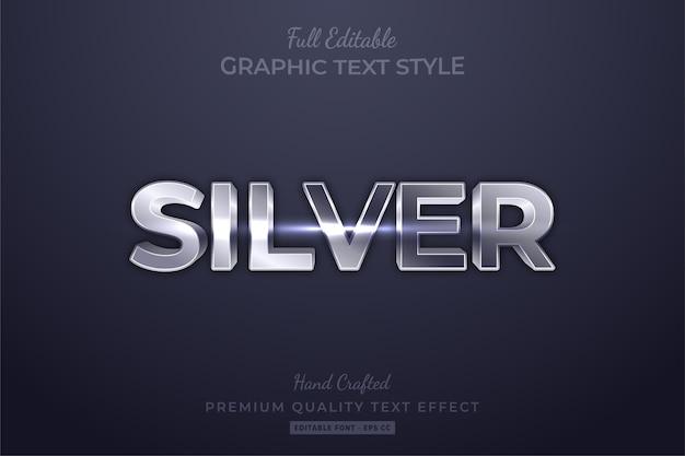 Efeito de estilo de texto 3d editável prateado