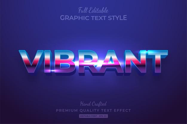 Efeito de estilo de texto 3d editável vibrante premium