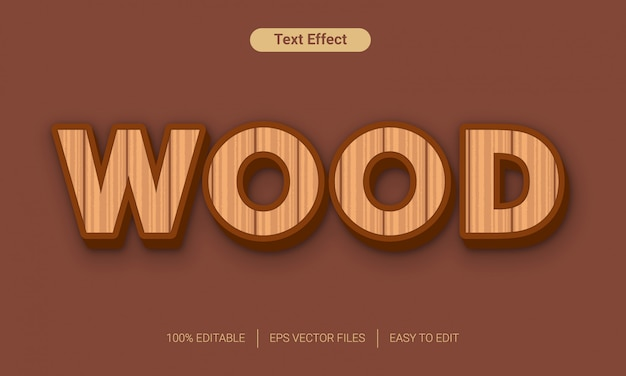 Efeito de estilo de texto 3d em madeira