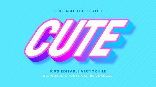 Efeito de estilo de texto 3d feminino doce bonito. estilo de texto editável do ilustrador.
