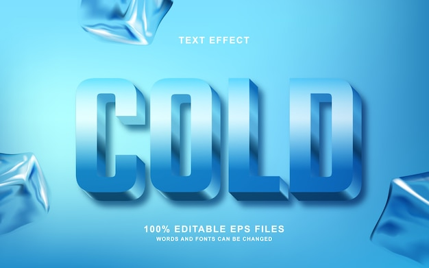 Efeito de estilo de texto 3d frio