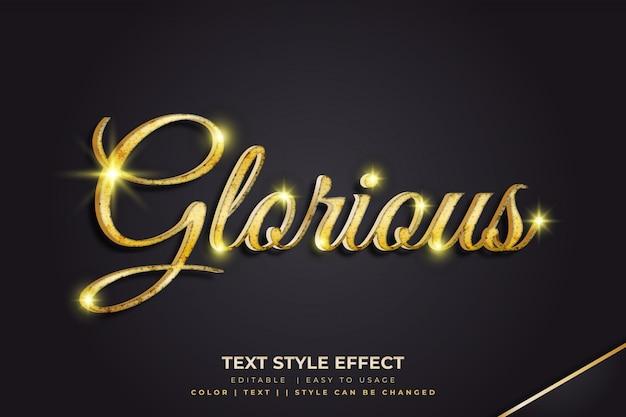 Efeito de estilo de texto 3d glorioso dourado