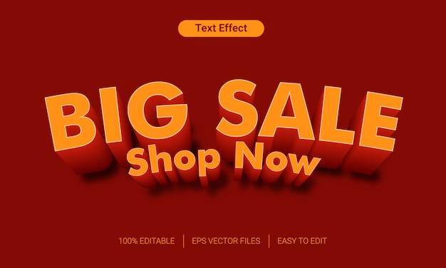 Efeito de estilo de texto 3d grande venda laranja