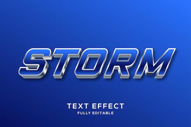 Efeito de estilo de texto 3d moderno em azul e prata