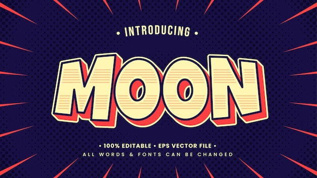 Efeito de estilo de texto 3d moon pop art retro estilo de texto ilustrador editável