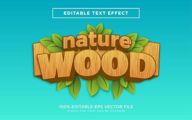 Efeito de estilo de texto 3d nature wood