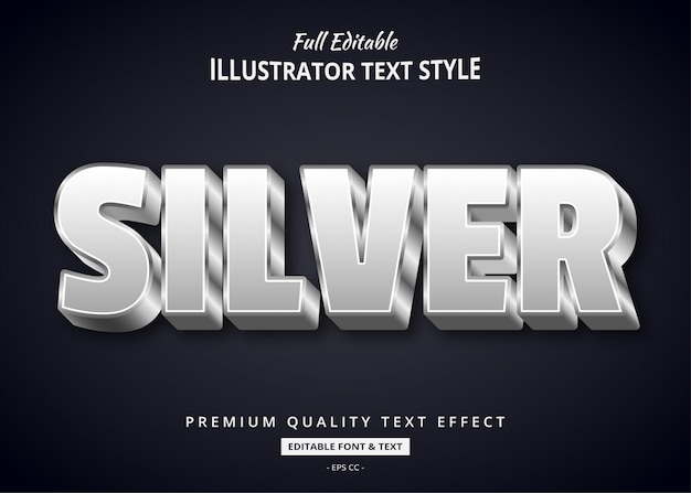 Efeito de estilo de texto 3d prateado