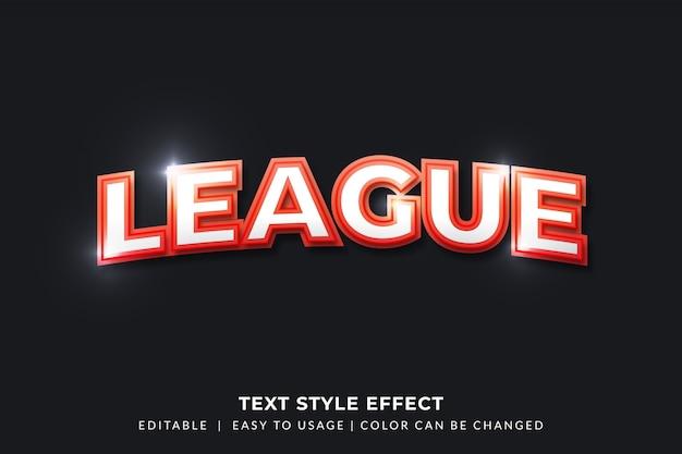 Efeito de estilo de texto 3d red league para identidade de equipe