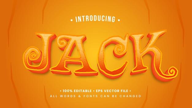 Efeito de estilo de texto 3d retro de jack 'o lantern halloween. estilo de texto editável do ilustrador.