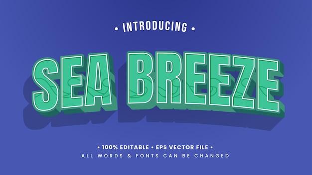 Efeito de estilo de texto 3d retro do sea breeze. estilo de texto editável do ilustrador.