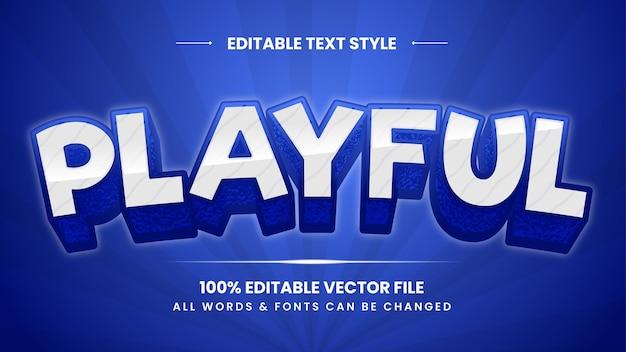 Efeito de estilo de texto 3d retro lúdico. estilo de texto editável do ilustrador.