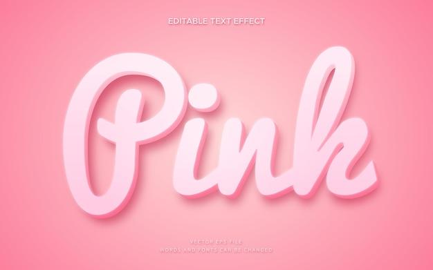 Efeito de estilo de texto 3d rosa fofo