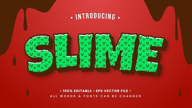 Efeito de estilo de texto 3d slime retro cartoon. estilo de texto editável do ilustrador.
