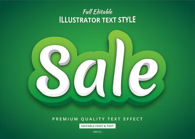 Efeito de estilo de texto 3d verde venda