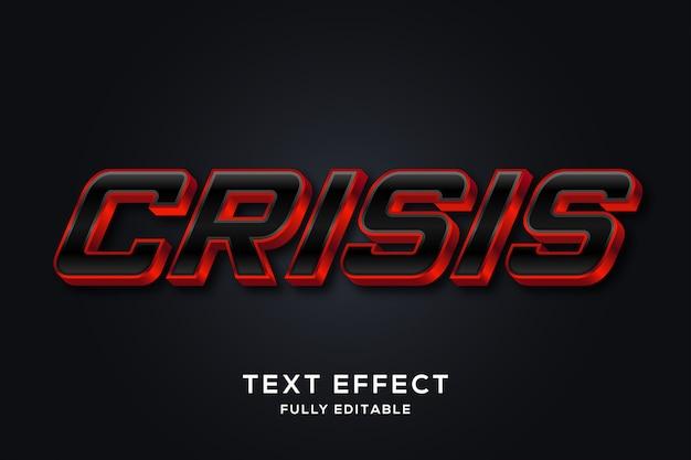 Efeito de estilo de texto 3d vermelho e preto à moda