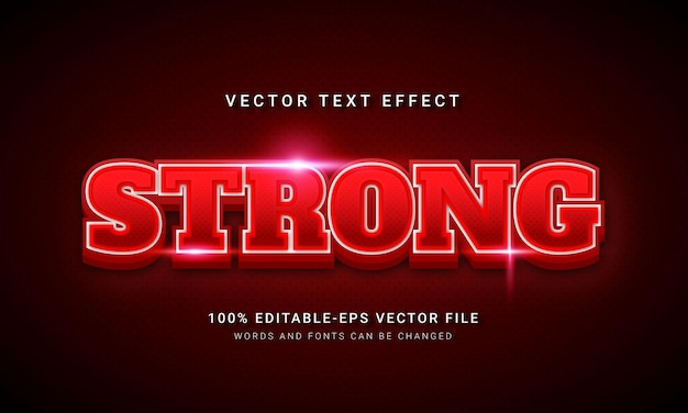 Efeito de estilo de texto 3d vermelho forte
