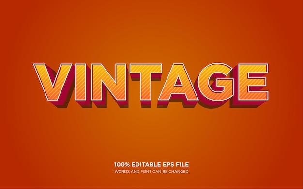 Efeito de estilo de texto 3d vintage