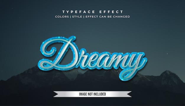 Efeito de estilo de texto azul prateado com bolha brilhante