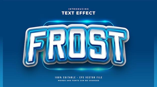 Efeito de estilo de texto blue frost e-sport. efeito de estilo de texto editável
