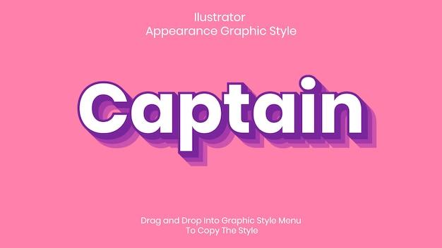 Efeito de estilo de texto capitão
