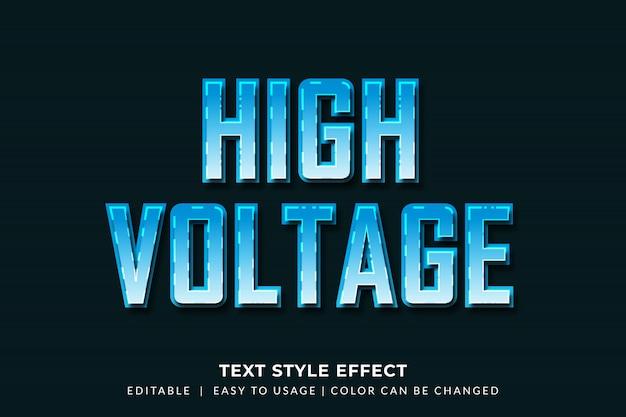 Efeito de estilo de texto chanfrado azul 3d